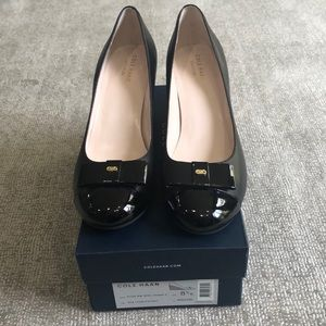 Cole Haan Black leather/patent wedge shoes